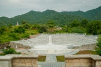 Outdoor arena at Ranakpur Jain Marble Temple grounds, in Ranakpur, India