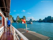 Marcos enjoying the clear blue sky and sunny weather, in Ha Long Bay, Quang Ninh, Vietnam