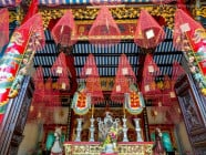 Main shrine at the Cantonese Assembly Hall (Quang Trieu) in Hoi An Ancient Town, Quang Nam Province, Vietnam