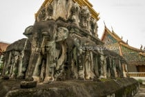 Elephant sculptures adoring the base of the chedi of Wat Chiang Man, the oldest temple in the walled city of Chiang Mai.