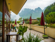 Refreshing view of the mountains from Ban Gioc Resort, in Cao Bang, Vietnam, on September 2015