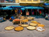 Sun-dried goods along the street in Hoi An Ancient Town, Quang Nam Province, Vietnam