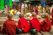 Apprentice Monks at the Morning Market, Hsipaw, Greater Mandalay, Myanmar