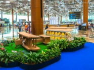 Terminal 3 check-in area at Changi International Airport. Singapore to Hanoi Flight.