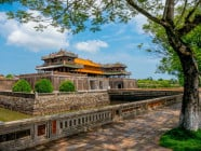 Side view of Cua Ngo Mon (gate), the main tourist entrance, at the south side of the Imperial City in Hue, Vietnam, on September 2015